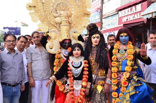 राम नवमी पर शहर में शोभायात्रा निकाली