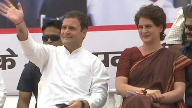 rahul gandhi and priyanka gandhi vadra addresses an election meeting in fatehpur sikri