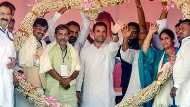 supaul  congress president rahul gandhi during an election rally for lok sabha polls