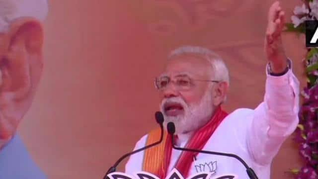 prime minister narendra modi at a poll rally in paran  gujarat  on sunday  pti