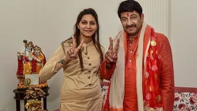 bjp mp manoj tiwari during his road show to file his nomination for the delhi lok sabha polls