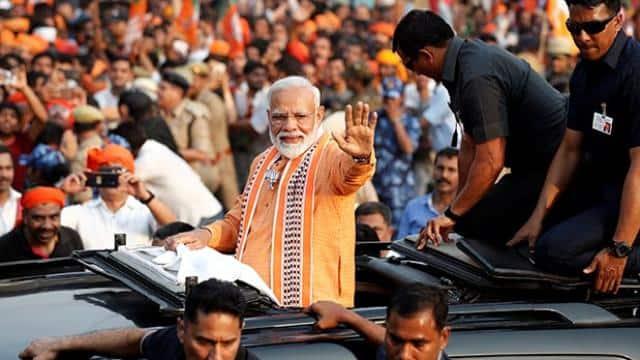 ls polls 2019  indian prime minister narendra modi during roadshow in varanasi