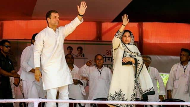 congress president rahul gandhi waves to supporters at an election rally in sitapur