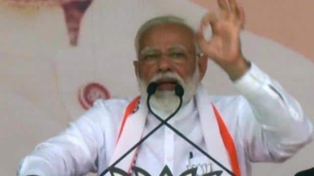 prime minister narendra modi addresses at an election public meeting in ayodhya