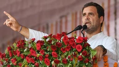 congress president rahul gandhi addresses the public meeting during an election campaign in rewa