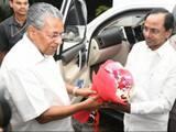 kerala chief minister pinarayi vijayan with his telangana counterpart k  chandrashekar rao in thiruv