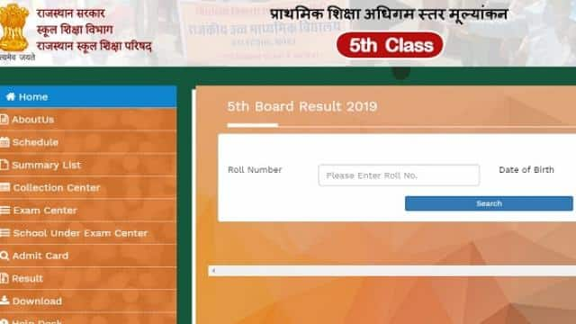 rbse 5th result direct link rajasthan board 5th class result direct link