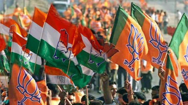 bjp and congress flag  file pic