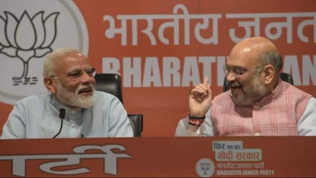prime minister narendra modi and bjp president amit shah address a press conference at party headqua