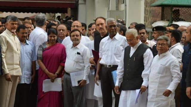opposition leaders after meeting the election commission on tuesday  raj k raj ht photo