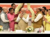 prime minister narendra modi being felicitated before the meeting of union council of ministers at t