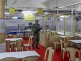 a security jawan guards at a counting centre