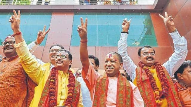 cm yogi adityanath  deputy cm dinesh sharma and keshav prasad maurya
