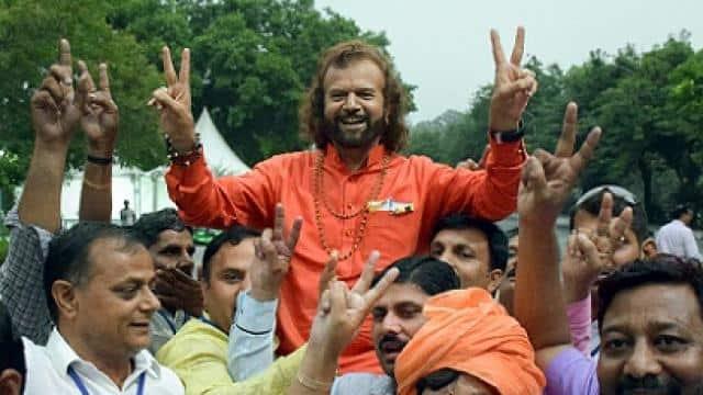 bjp candidate hans raj hans celebrates his victory in the lok sabha elections  pti