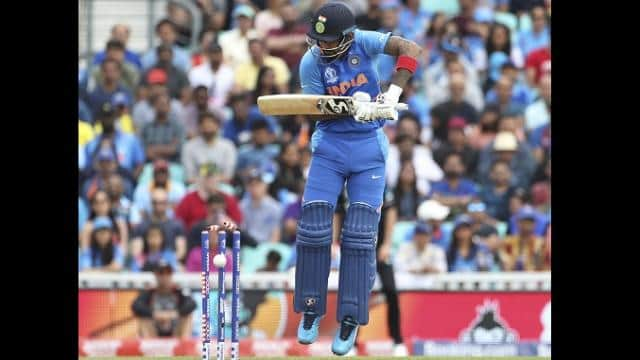lokesh rahul is bowled out by trent boult during the cricket world cup warm up match between india a