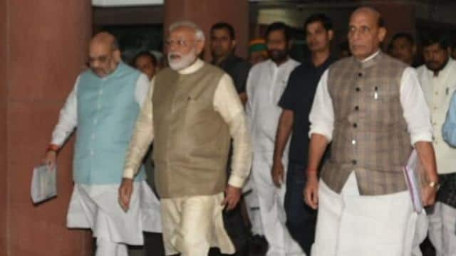 pm   modi  defence minister rajnath singh and union home minister amit shah   sonu mehta  ht   photo