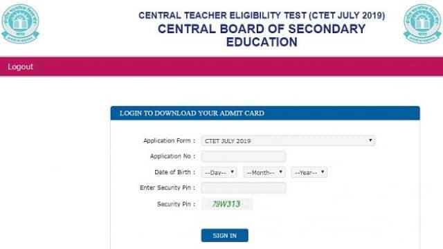 cbse ctet admit card 2019