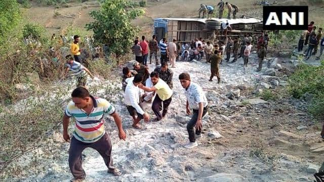 jharkhand  6 dead and around 39 people injured after a bus fell into a gorge in garhwa
