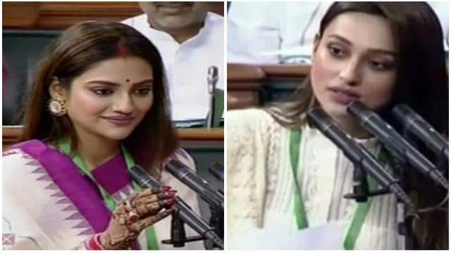 tmc winning candidate and actress nusrat jahan and mimi chakraborty takes oath as a member of lok sa