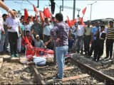 katihar  protest of train guard and drivers on rail track of railway station against deduction of hi