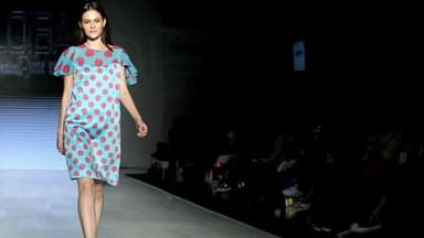 models shows creation by spanish designer monica fuentes for spanish brand loiba in mexico
