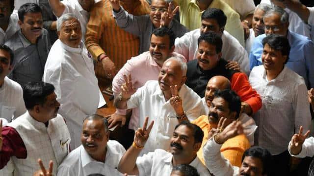 karnataka bharatiya janatha party  bjp  leaders along with the party president b s  yediyurappa flas