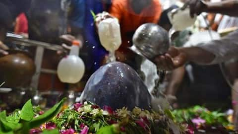 devotees pour milk on a shivling during maha shivratri