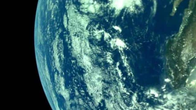 a photo of the earth captured by chandrayaan2   isro