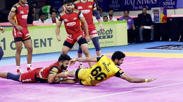 pkl 2019  pawan sehrawat dazzles as bengaluru bulls register third straight win
