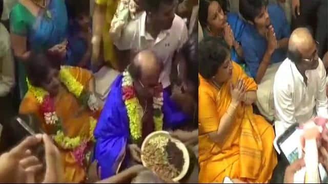 rajnikanth offered prayers at the sri devarajaswami temple early morning today in tamil nadu