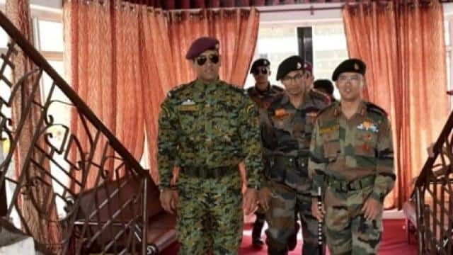 ms dhoni during his army duty  photo credit  twitter