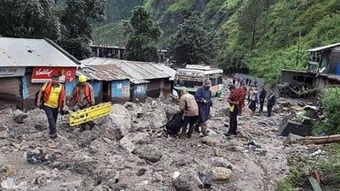 rescue operations underway after a cloudburst at uttarkashi
