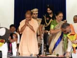ministers taking blessings from up chief minister yogi aditiyanath and up governor anandiben patel d