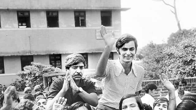 arun jaitley won the delhi university students elections in 1974  he is seen in a jubilant mood with