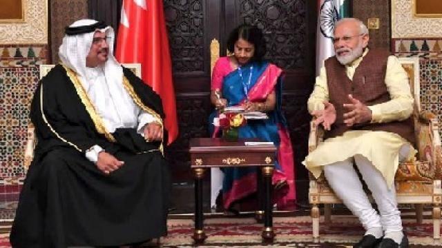 narendra modi met the crown prince of bahrain salman bin hamad bin isa al khalifa   meaindia twitter