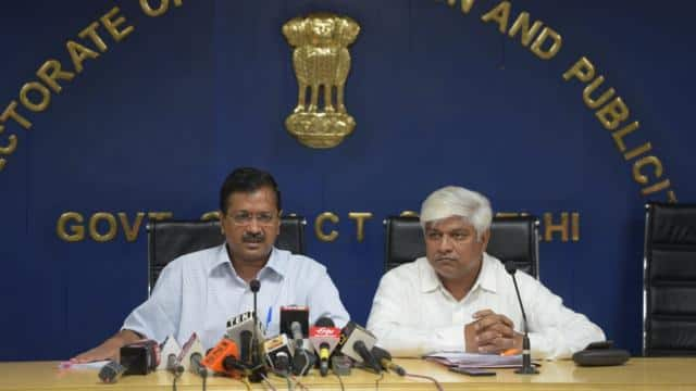 delhi cm arvind kejriwal address press conference on free education in new delhi