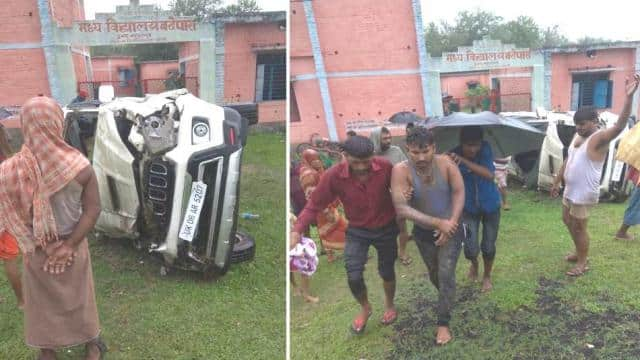 three injured including driver after scorpion overturns at fourlane in araria