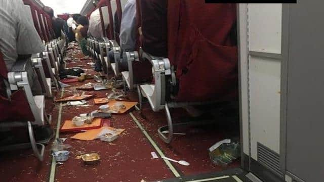 air india flight damages after thunderstorm  ani twitter pic