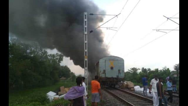 brutal fire in train  brahmaputra mail become bruning train near munger