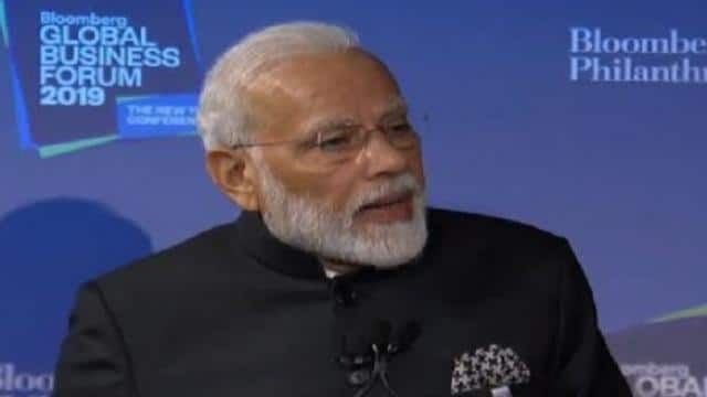 pm narendra modi at bloomberg global business forum says almost every indian has a unique id