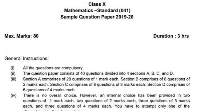 cbse sample paper 2020 for class 10 maths  standard