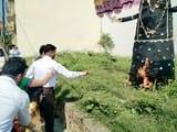 डोरेमॉन स्कूल में एसपी ने मारा रावण, जलाया पुतला