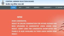 Indian Air Force X Y Group Result 2019: रिजल्ट airmenselection.cdac.in पर जारी