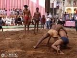 कुश्ती दंगल में पहलवानों ने दिखाए दाव-पेच