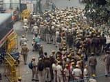 delhi police personnel inside new delhi   s tis hazari court complex after a dispute over parking in t