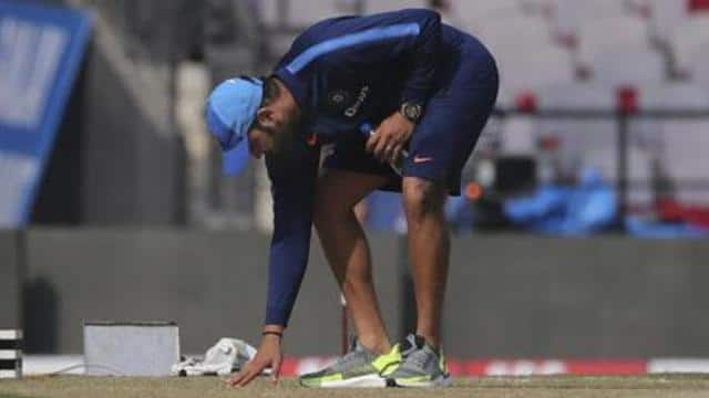 rohit sharma inspecting pitch ahead of a match  ap