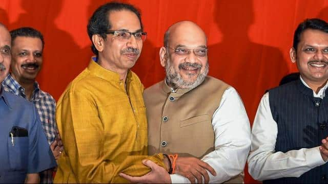 shiv sena chief uddhav thackeray and home minister amit shah  pti photo shirish shete   pti2 18 2019