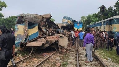 at least 16 dead  58 injured as two trains collide in eastern bangladesh