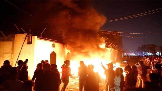 protestor fire on iraqi consulate