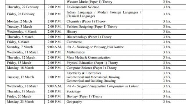 isc 12th time table 2020